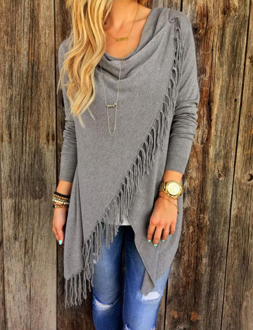 Jersey Cardigan with Fringe