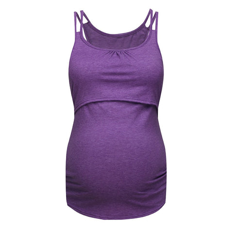 2 in 1 Purple Solid Double Strap Maternity Breastfeeding Tank Top - Plus Sizes