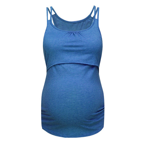 2 in 1 Blue Solid Double Strap Maternity Nursing Tank Top - Plus Sizes