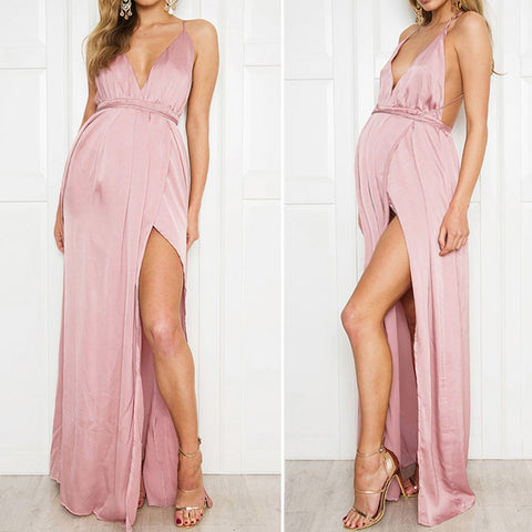 Backless Pink Satin Maternity Dress