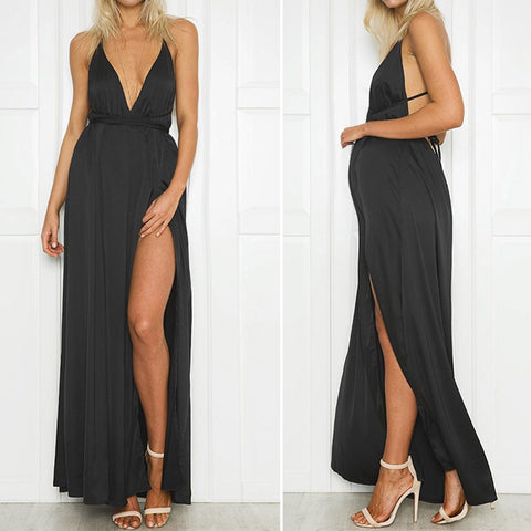 Backless Black Satin Maternity Dress