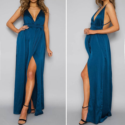 Backless Blue Satin Maternity Dress