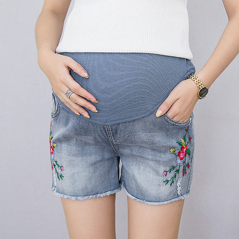 Distressed Embroidered Frayed Hem Maternity Shorts