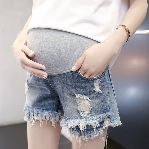 Shredded Denim Maternity Shorts