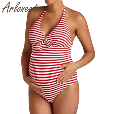 Red Striped Hi-waist Maternity 1pc Swimsuit