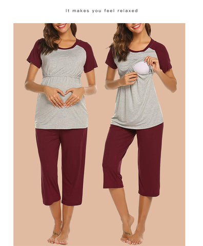 Burgundy Crop Maternity Lounge Pants & Nursing Top Pajama set