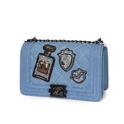 Designer Denim Crossbody Bag