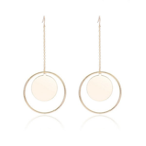 Newest Double Big Circle Drop Earrings