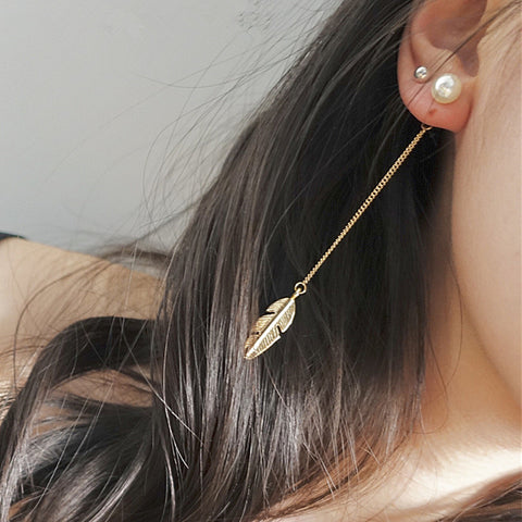 Leaf Feather Drop Earring