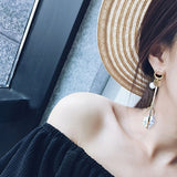 Trendy Marble Long Earrings