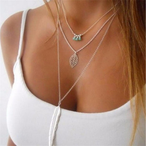 Layer Leaf Long Pendant Necklaces