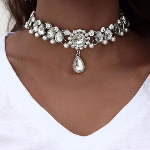 Water Drop Crystal Choker Necklace