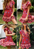 Bohemian floral mini women summer dress