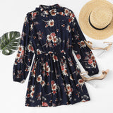 Dresses Multicolor Elegant Long Sleeve High Waist