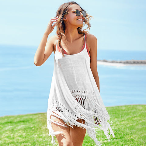 Sexy White Spaghetti Straps Tassel Cover Up