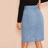 Slit Front Belted Denim Skirt