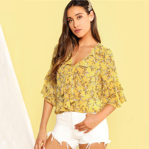 Yellow Ditsy Floral Tie Neck Layered Flounce Sleeve