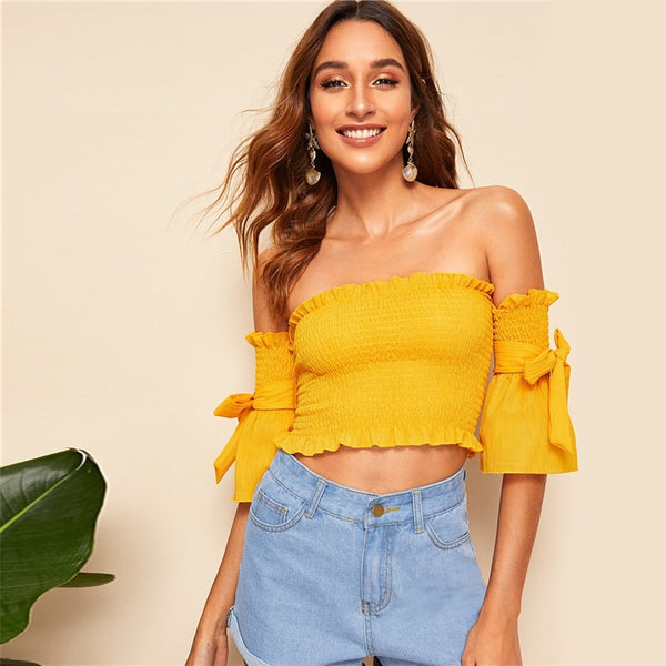 Bow Tie Sleeve Ruffle Trim Shirred Off Shoulder Crop Top