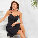 Black Open Back Criss Cross Sexy Cami Dress