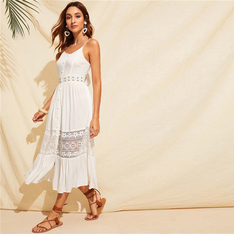 White Guipure Lace Insert Bow Tie Back Boho Cami Dress