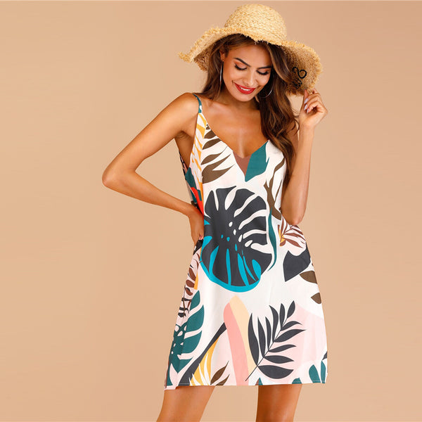 Tropical Print Straight Boho Cami Dress