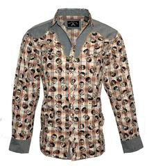 "Rock Roll n Soul Western ""Plaid of Skulls "" Long Sleeve"