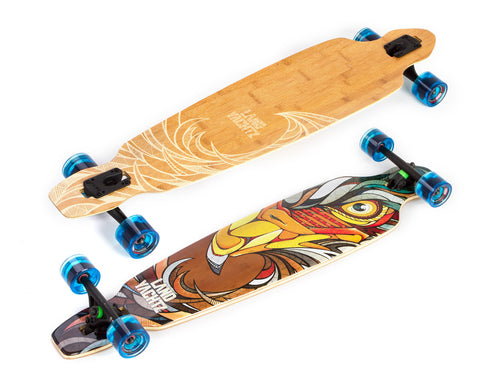 landyachtz battle axe 40 eagle bamboo longboard complete top and bottom split view