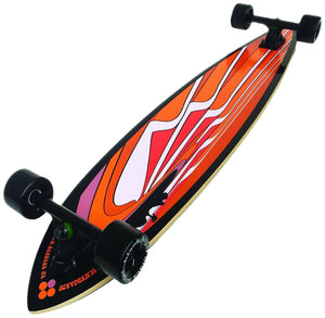 "Black Angel 46"" Pintail Longboard with Customizable Wheel Options"