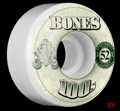 Bones 100s Original Formula White 52mm 100a Skateboard Wheels