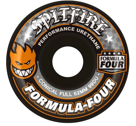 Spitfire Formula Four Conical Full 52mm Skateboard Wheels (Black)