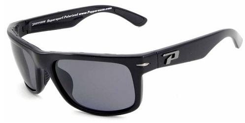 Peppers Stockton Black Front with Tortoise Temples Smoke Pol Lens Sunglasses