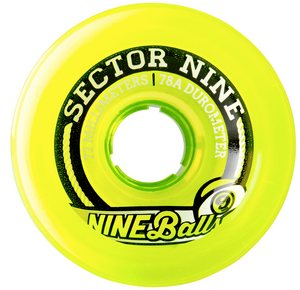 Sector 9 Nineballs 72mm 78a Top Shelf Longboard Wheels, Lime