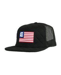ROCKWELL FREEDOM QUILTED TRUCKER SNAPBACK HAT BLACK