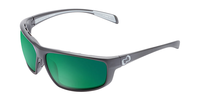 Native Eyewear Bigfork Polarized Sunglasses Asphalt Frame with Green Reflex Lens