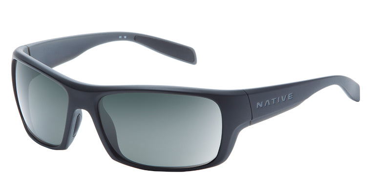Native Eyewear Eddyline Polarized Sunglasses Matte Black with Granite/Gray Lens