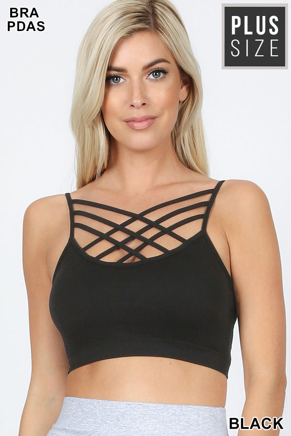 Strappy Front Bralette + Multiple Colors*