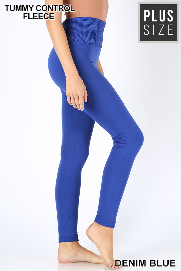 Banded Fleece Leggings + Royal