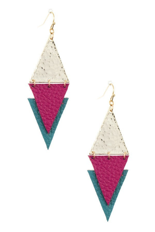 Faux Leather Link Earrings