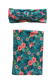 Floral Teal Swaddle Set