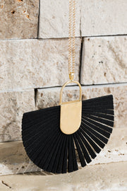 Long Leather Fan Tassel Necklace
