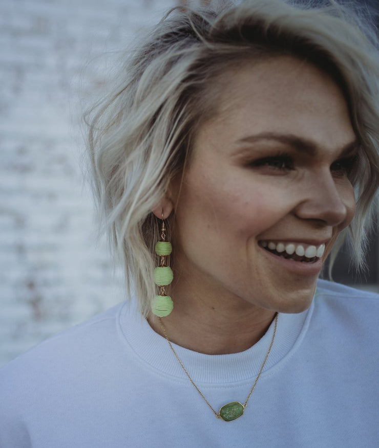 Lime Ball Drop Earrings