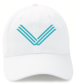 White Hat, Teal Embroidered Logo