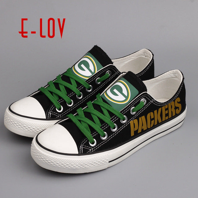 cc5ab2c6e53 Wisconsin Green Bay Packers Super Bowl Printing Canvas Shoes Elite Aaron  Rodgers MVP Champ Fans Customize ...