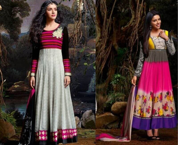 Asin Pink And Grey Anarkali Suit