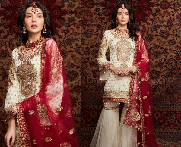 Cream and Red Floral Printed Lawn Cotton Suit