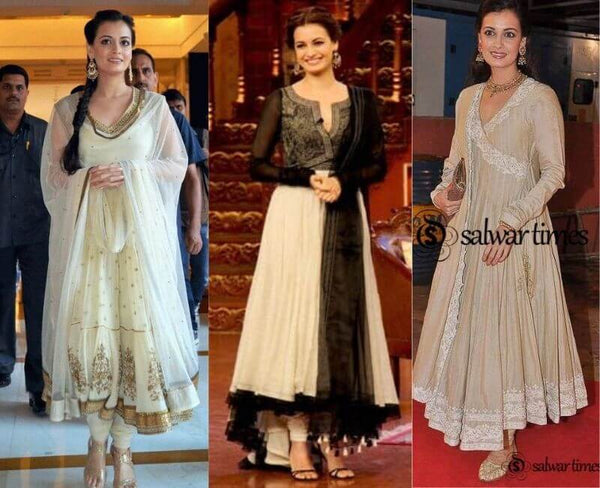 Dia White and Gold Anarkali Suit