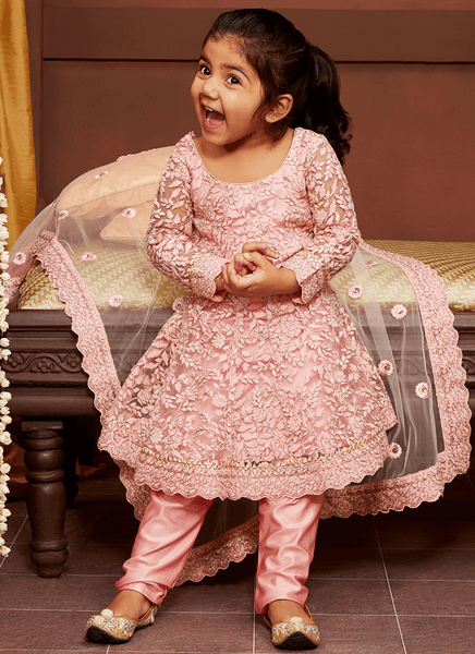 Embroidered Kids Pant Style Anarkali
