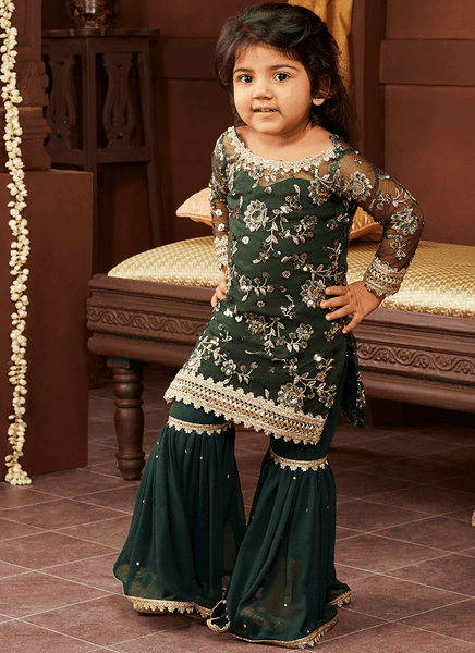 Kids Embroidered Gharara Suit