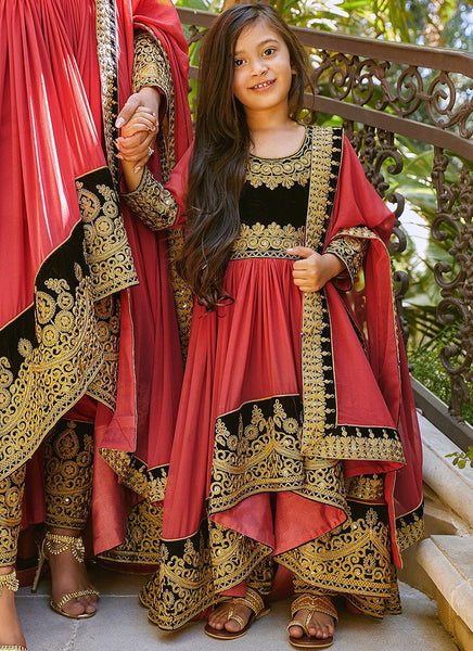 Kids Embroidered High Low Anarkali Style
