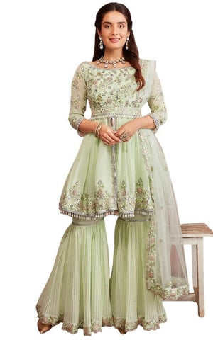 Light Dusty Green Embroidered Gharara Suit